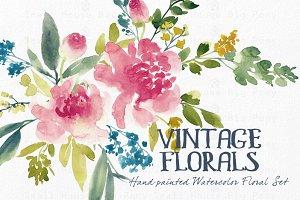 Vintage Florals- Watercolor Clip Art