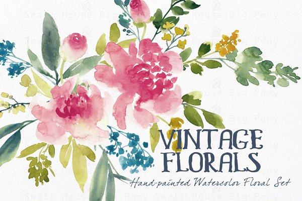 Vintage Florals- Watercolor Clip Ar…