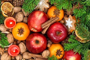 Christmas food. Fruits cookies spice