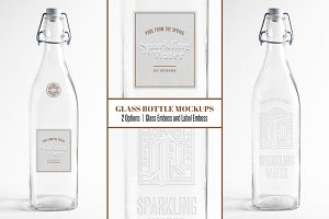 Embossed Glass Water Bottle Mockup