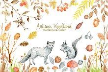 Watercolor Clipart Autumn Woodland