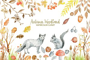 Watercolor Clipart Autumn Woodland