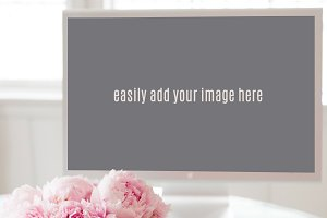 Desktop Mockup with Pink Peonies