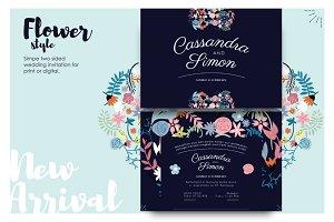 Flowery &Modern Wedding Invitation