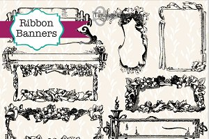 55 Vintage Ribbon Banners & Labels