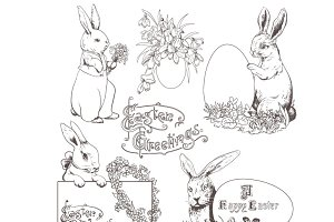 Easter Bunnies, Doodle Clipart