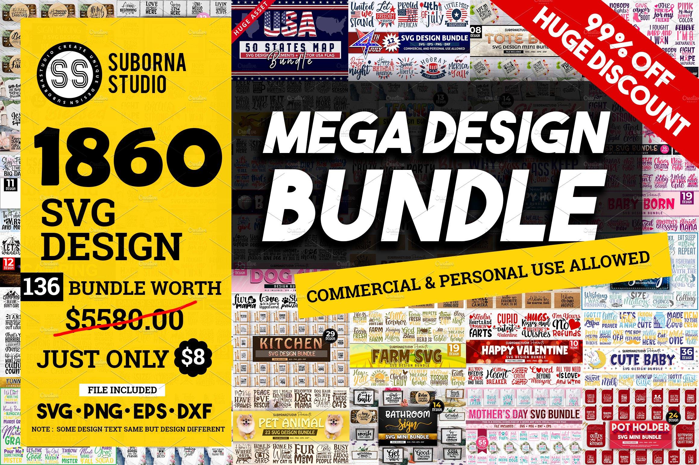 The Mega Bundle Over 1860 Svg Design Pre Designed Illustrator Graphics Creative Market