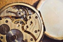 Old Clock Mechanism Macro Мiew