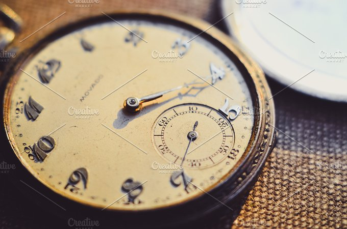 Old Vintage Clock. Macro view - Technology