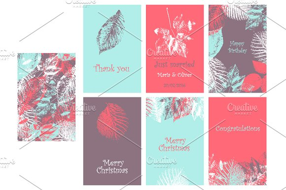 Collection of 6 cards. 4 colors. - Invitations