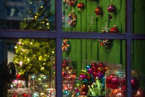 Christmas decoration. Window