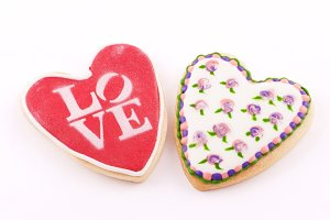 Two heart-shaped cookie. Love