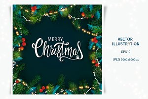 Merry Christmas card with lettering
