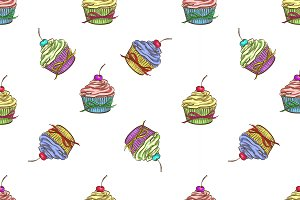 Cupcake colorful pattern