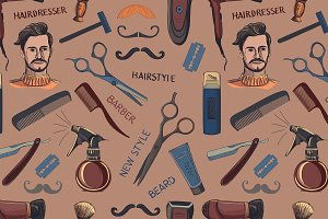 Hand drawn retro barbershop pattern