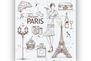 paris set on note book page