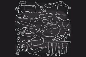 Chalkboard cooking set