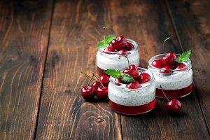 Chia seeds yogurt pudding