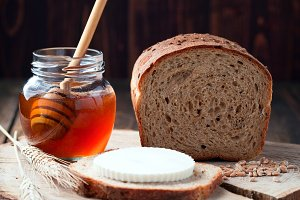 Whole grain bread and honey