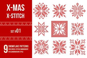 Cross stitch snowflakes patterns, 01