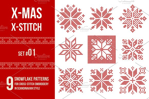 Cross stitch snowflakes patterns, 01