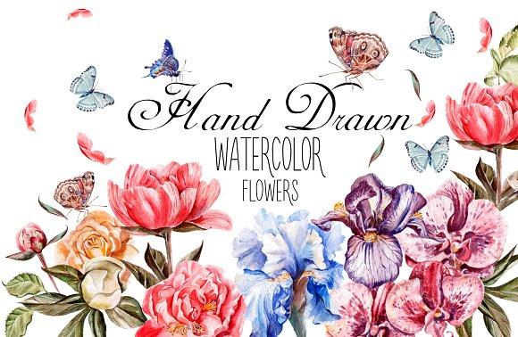 Beautiful watercolor flowers in Objects