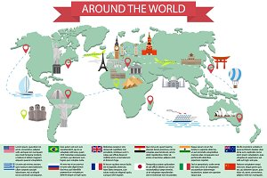"Set of posters ""Around the world"""