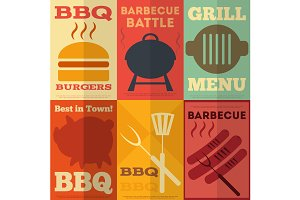 Retro BBQ posters collection