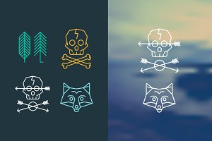 Fox, Skull, Arrows and Trees Logo