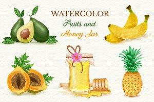Watercolor Fruits and Honey Jar
