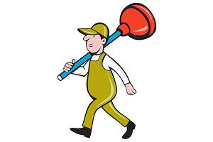 Plumber Carrying Plunger Walking Iso