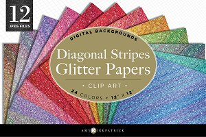 12 Stripe Glitter Paper Pack-Digital