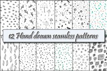 12 hand drawn seamless patterns.
