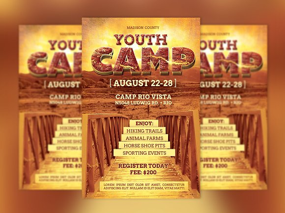 Youth Camp Flyer Template Flyer Templates Creative Market