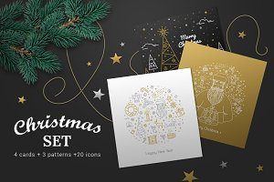 Gold line Christmas set