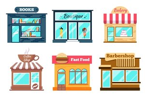 Shops and stores icons set