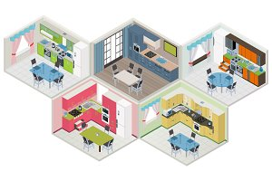 Collection isometric kitchens