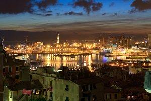 port in Genova at evening, Italy