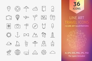 Travel Line Art Icons