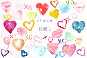 Valentine Hearts watercolor clipart