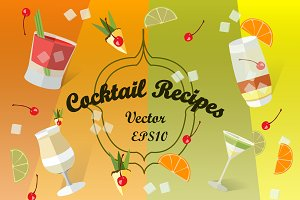Cocktail Recipes. Vector