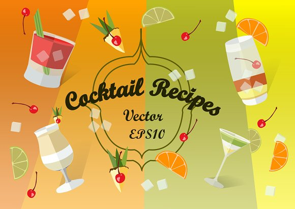 Cocktail Recipes. Vector - Illustrations