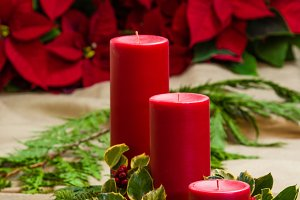 Red candle centerpiece