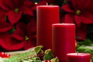 Red holiday candles