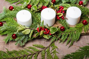 White holiday candles