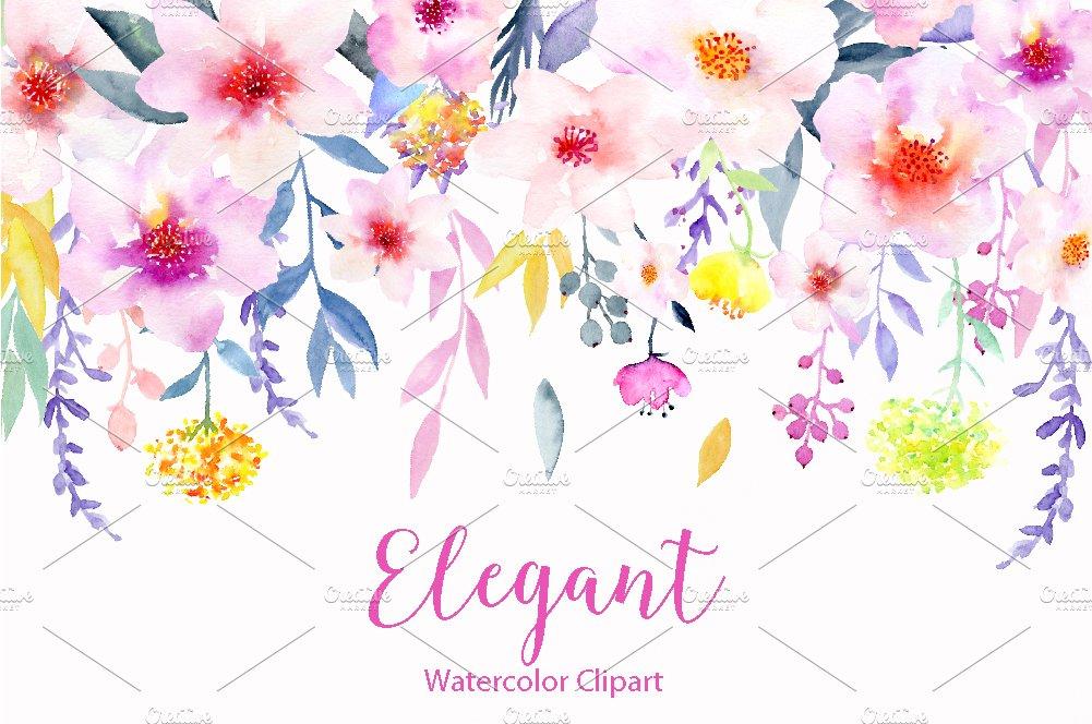 Watercolor Flower Clipart Elegant ~ Illustrations ...
