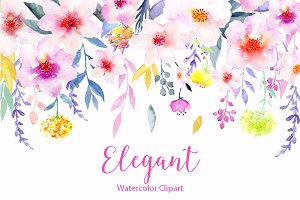 Watercolor Flower Clipart Elegant