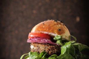 homemade veggie burger in a bun with