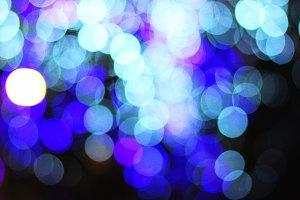 Blue, white, light green night bokeh