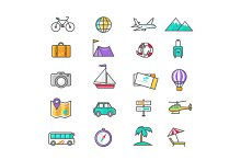 Set Thin Lines Icons of Traveling
